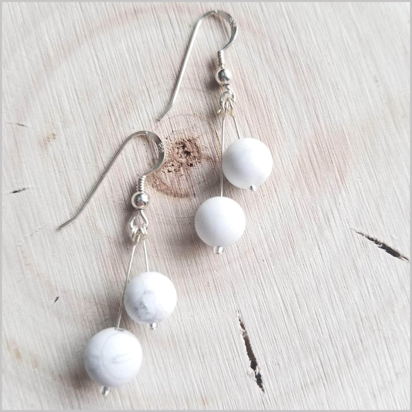 Dual Gemstone (Matte) Howlite Dangle