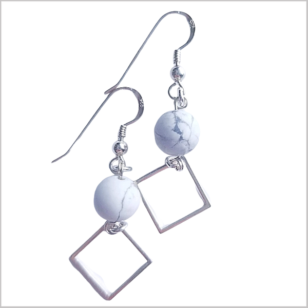 Square (Matte) Howlite Dangle