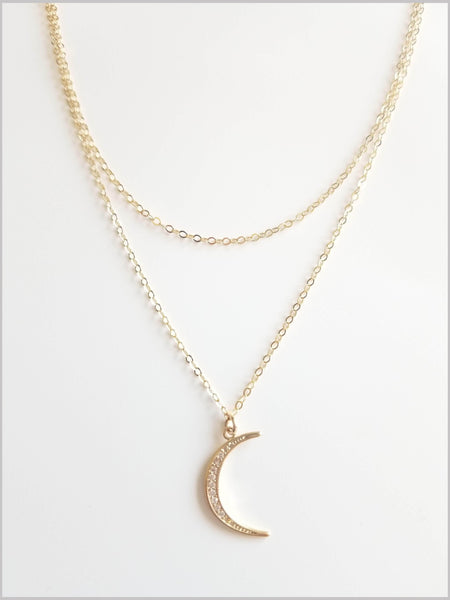 Crescent Moon Layered Necklace
