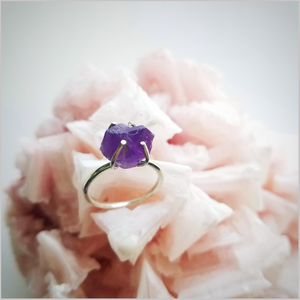 Healing Raw Amethyst Crystal Ring
