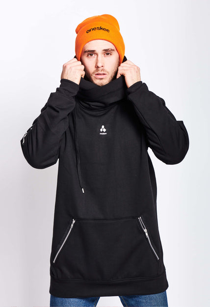 Men's Technical X-Neck Hoodie  - Black