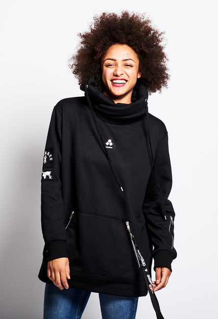 Women's Technical X-Neck Hoodie  - Black