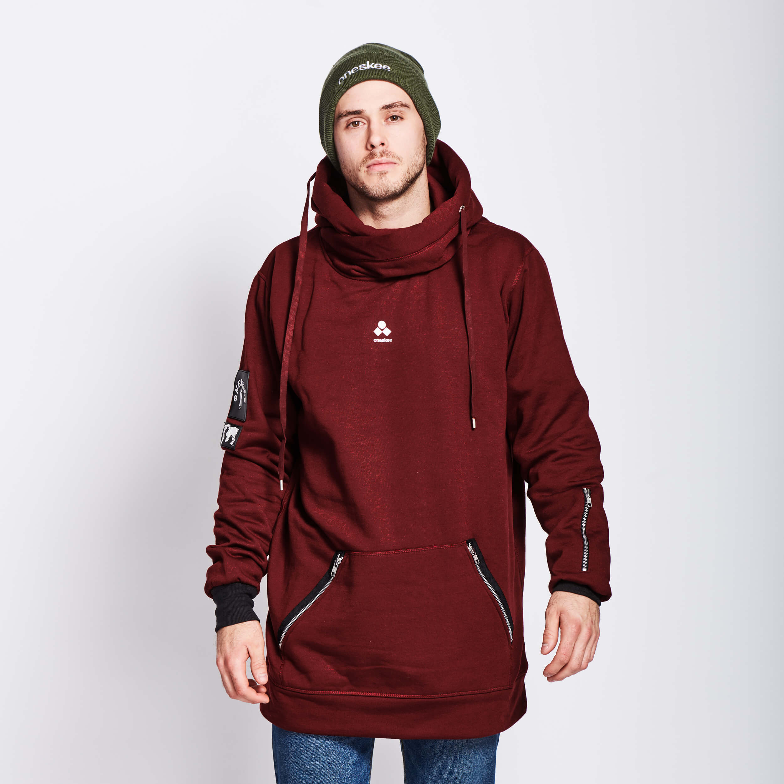 Men's Technical X-Neck Hoodie  - Burgundy image 5