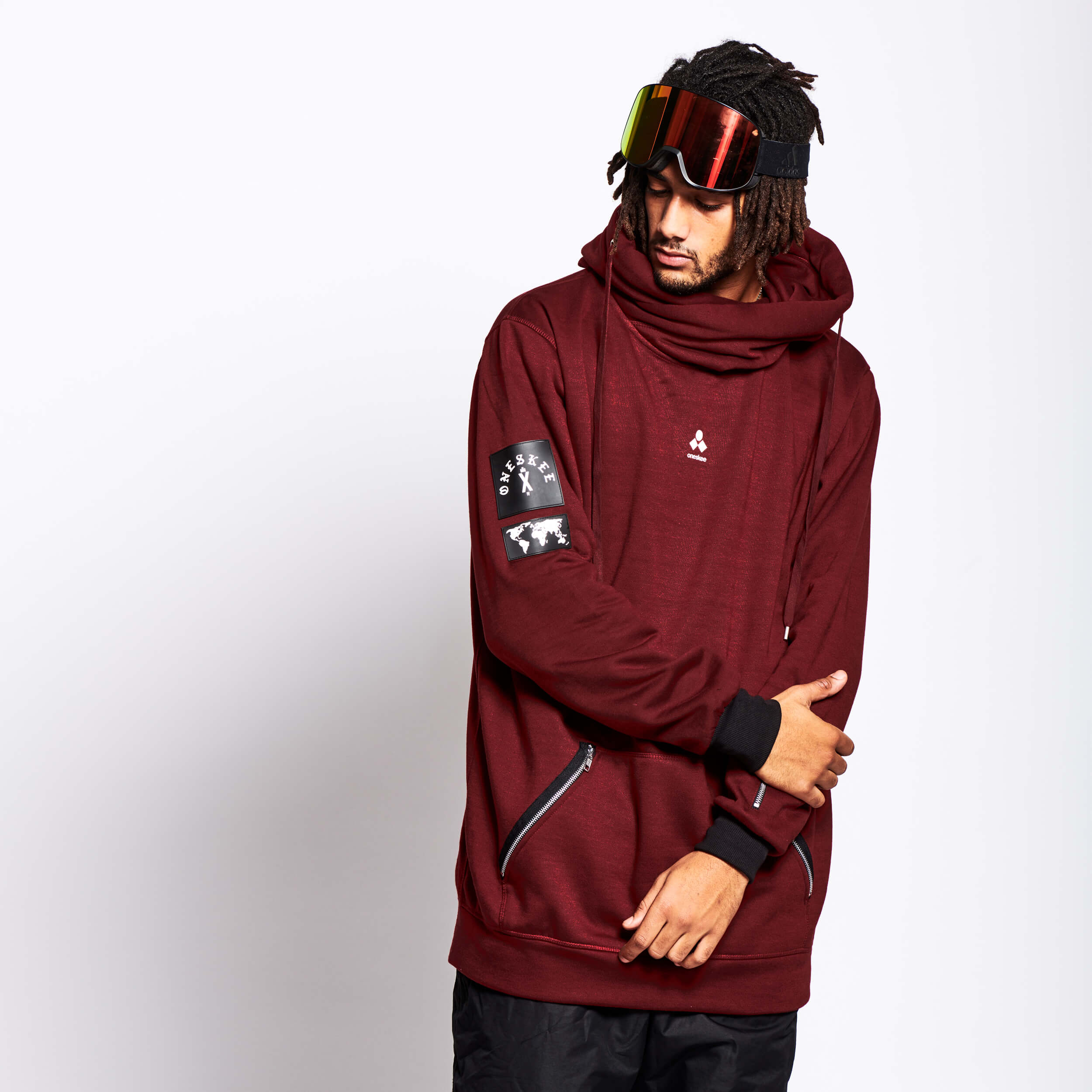 Men's Technical X-Neck Hoodie  - Burgundy image 1