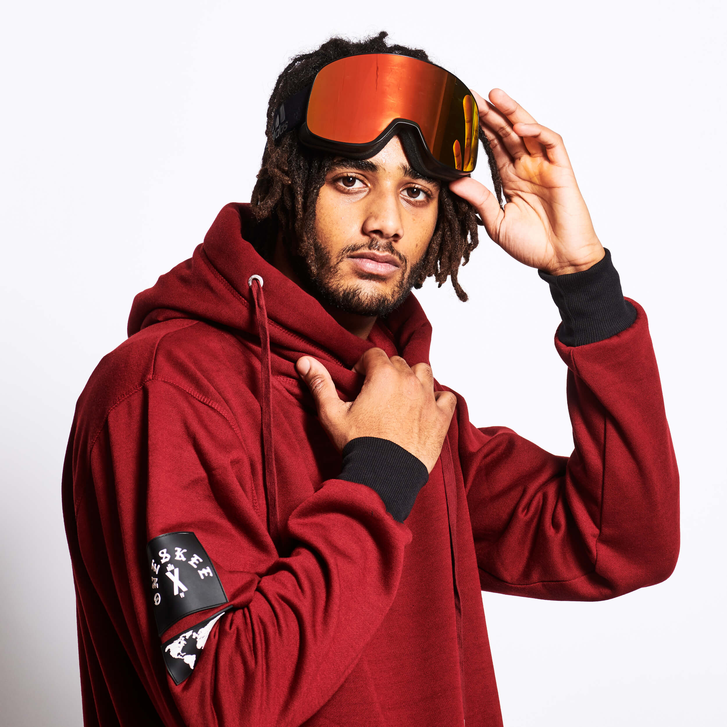 Men's Technical X-Neck Hoodie  - Burgundy image 4