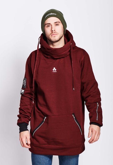 Men's Technical X-Neck Hoodie  - Burgundy