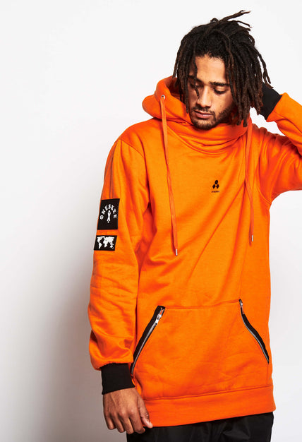 Men's Technical X-Neck Hoodie  - Orange