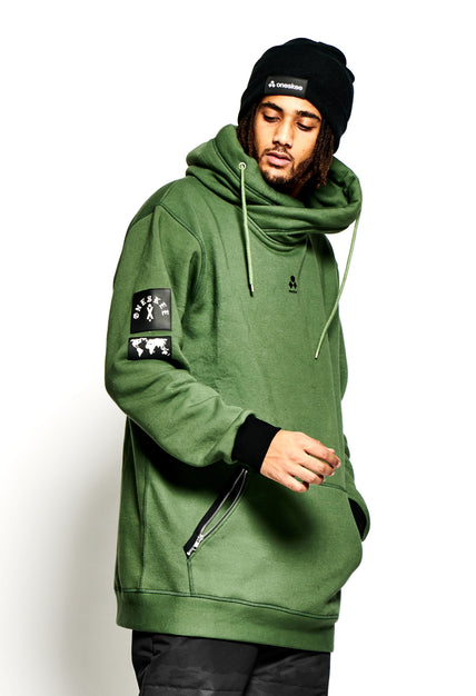 Men's Technical X-Neck Hoodie  - Olive