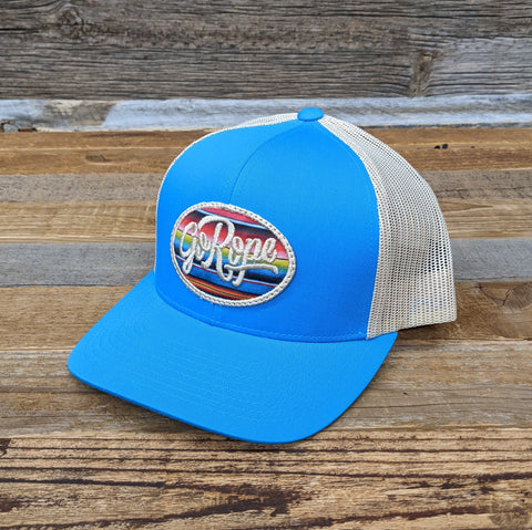 Serape Patch Trucker Hat- Bright Blue/Tan