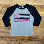 Girl's Flag Baseball Tee - Heather Grey/Black