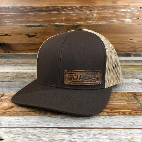 Distressed Leather Patch Hat - Brown/Tan