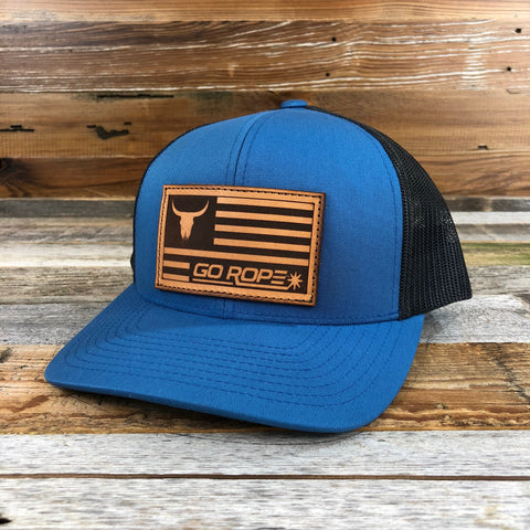 Leather Flag Patch Hat - Blue