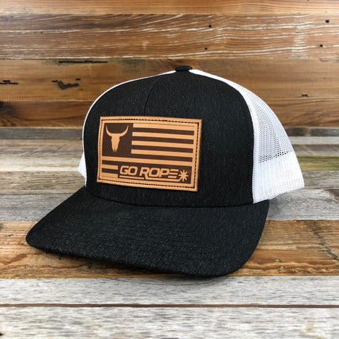 aaee7aba4ea Leather Flag Patch Hat - Heather Black White Mesh