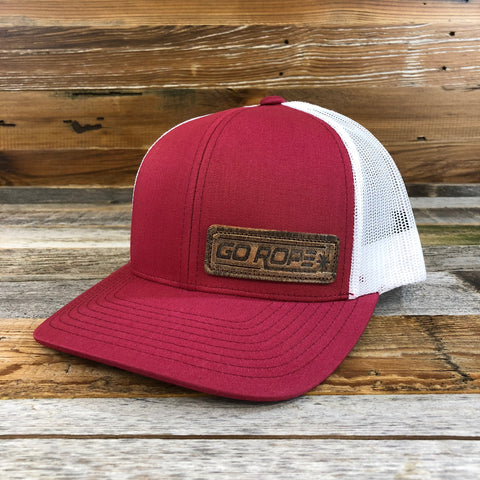 Distressed Leather Patch Hat - Red/White