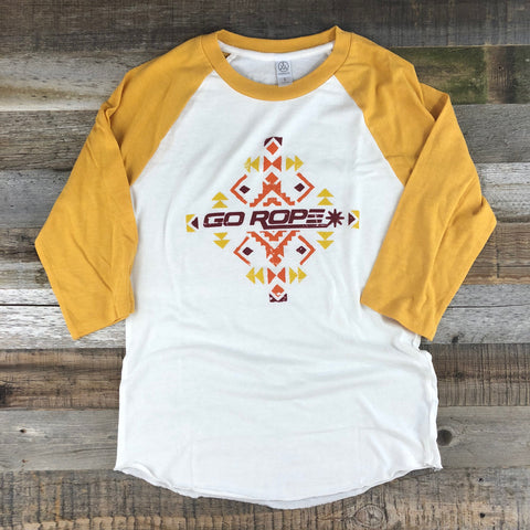 Women's Go Rope Tribal Raglan- Mustard