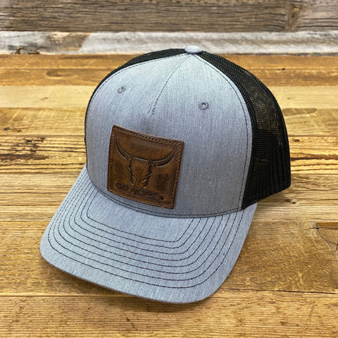 Steer Leather Patch Hat - Heather/Black