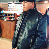 MEN'S EMBOSSED LEATHER JACKET