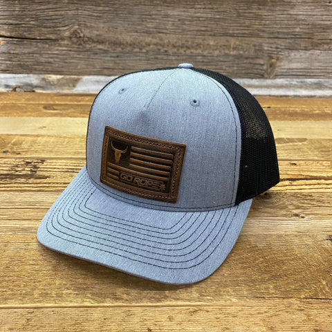 Embossed Flag Leather Patch Hat - Gray/Black