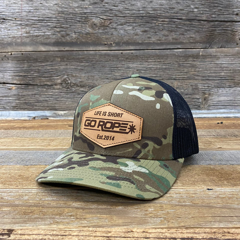 Go Rope Emblem Leather Patch Hat