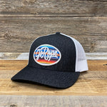 Serape Patch Trucker Hat- Heather Black/White