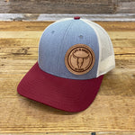 Circle Roughout Patch Hat - Heather/Maroon