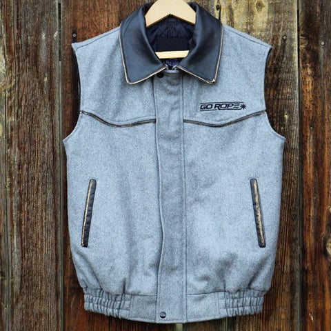 NEW! Wool Vest with Leather Collar