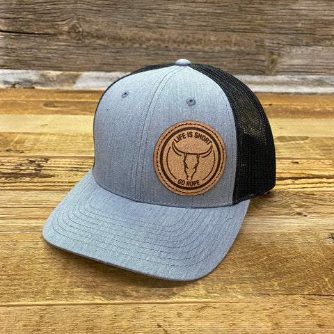 Circle Roughout Patch Hat - Heather/Charcoal