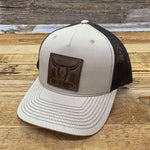 Leather Steer Patch Hat - Khaki/Coffee