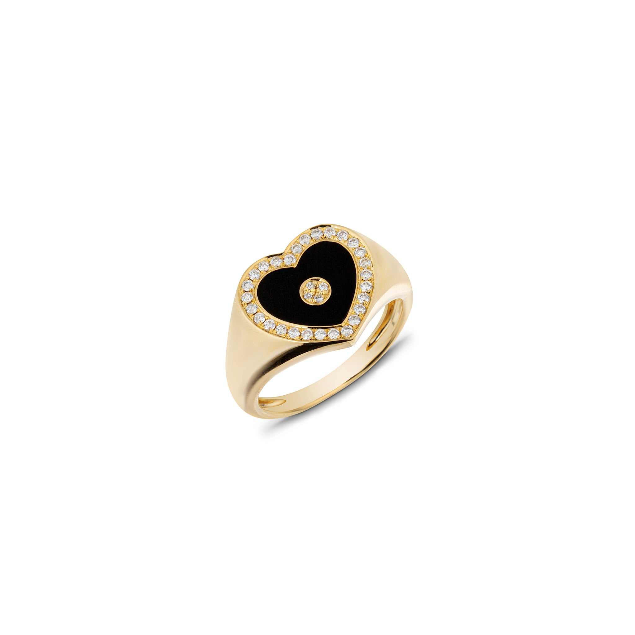 Love Heart Onyx Signet Ring