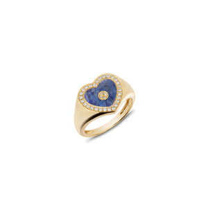Love Heart Lapis Signet Ring