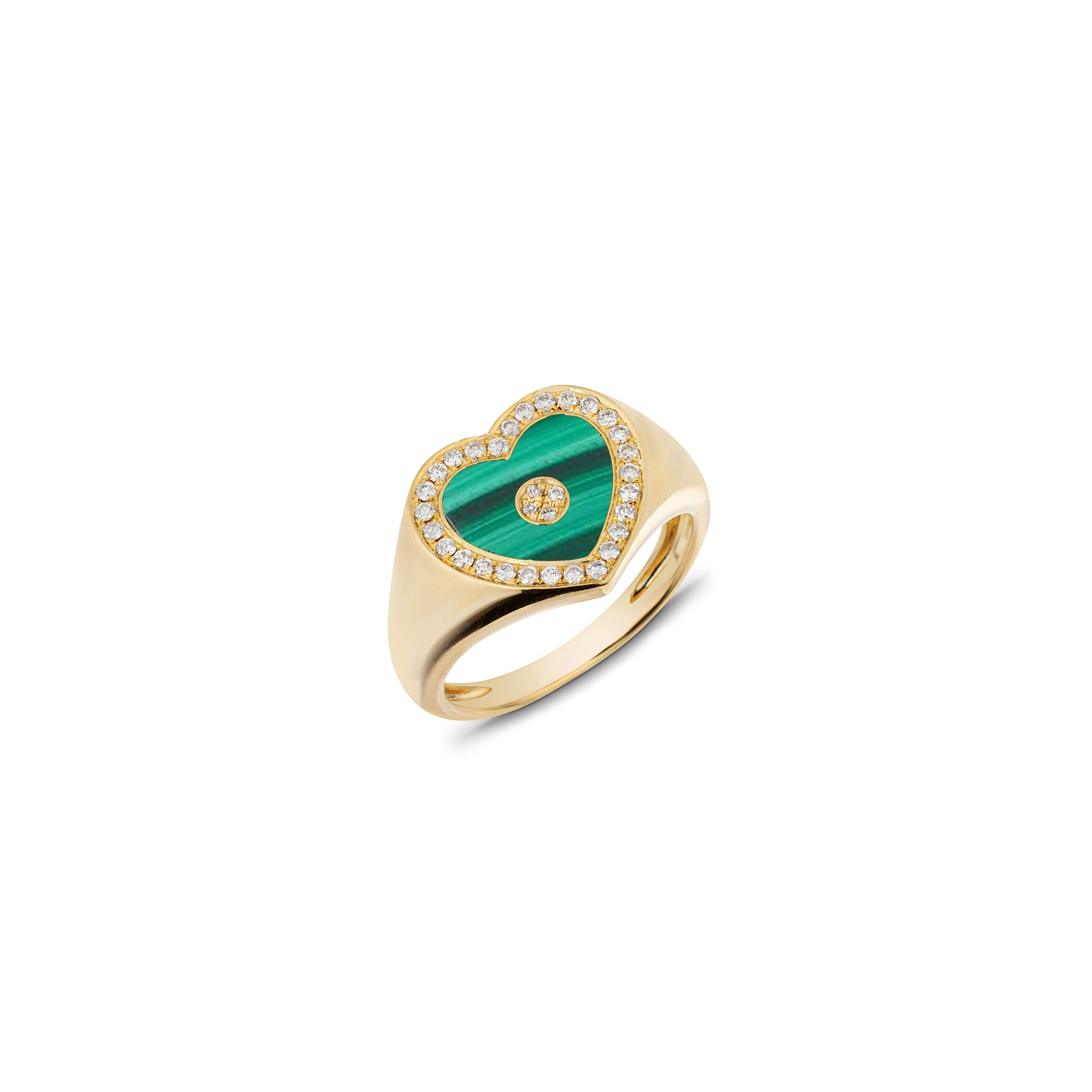Love Heart Malachite Signet Ring
