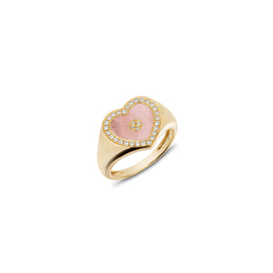 Love Heart Pink Opal Signet Ring