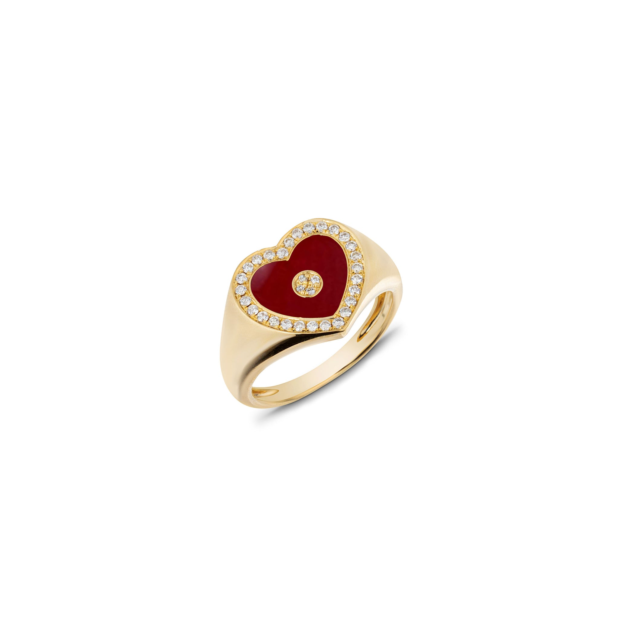 Love Heart Red Agate Signet Ring