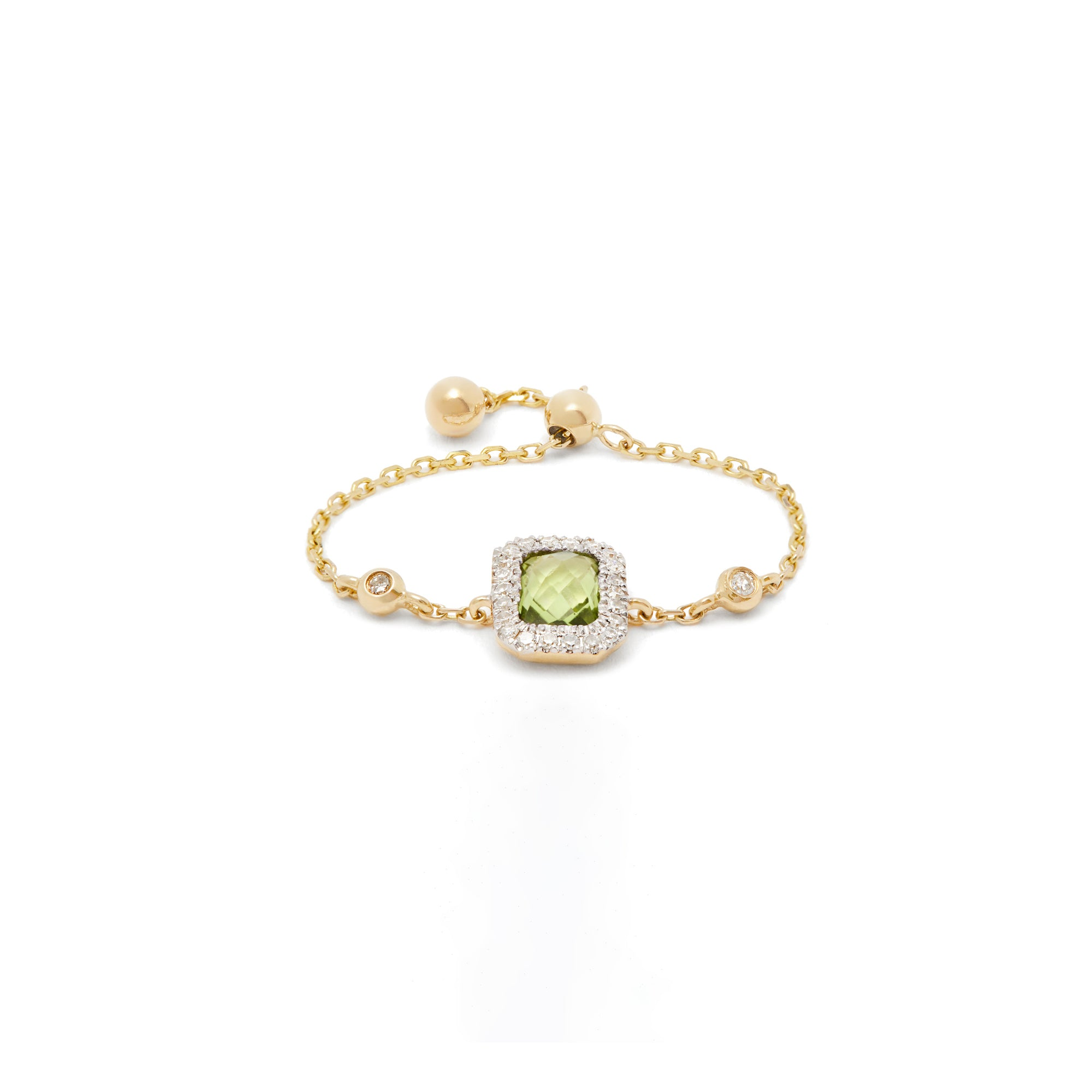 Square Peridot Chain Ring