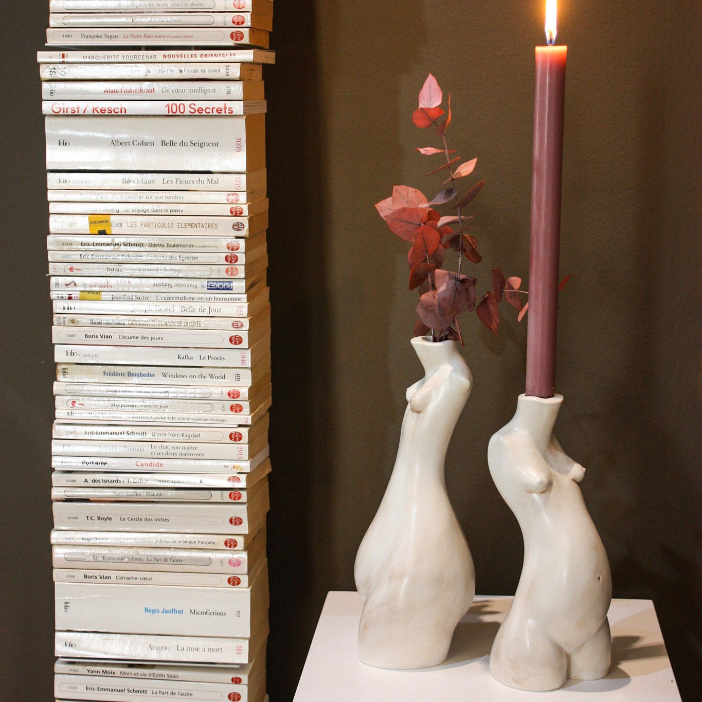 Tit for Tat Candlestick Tall Marble