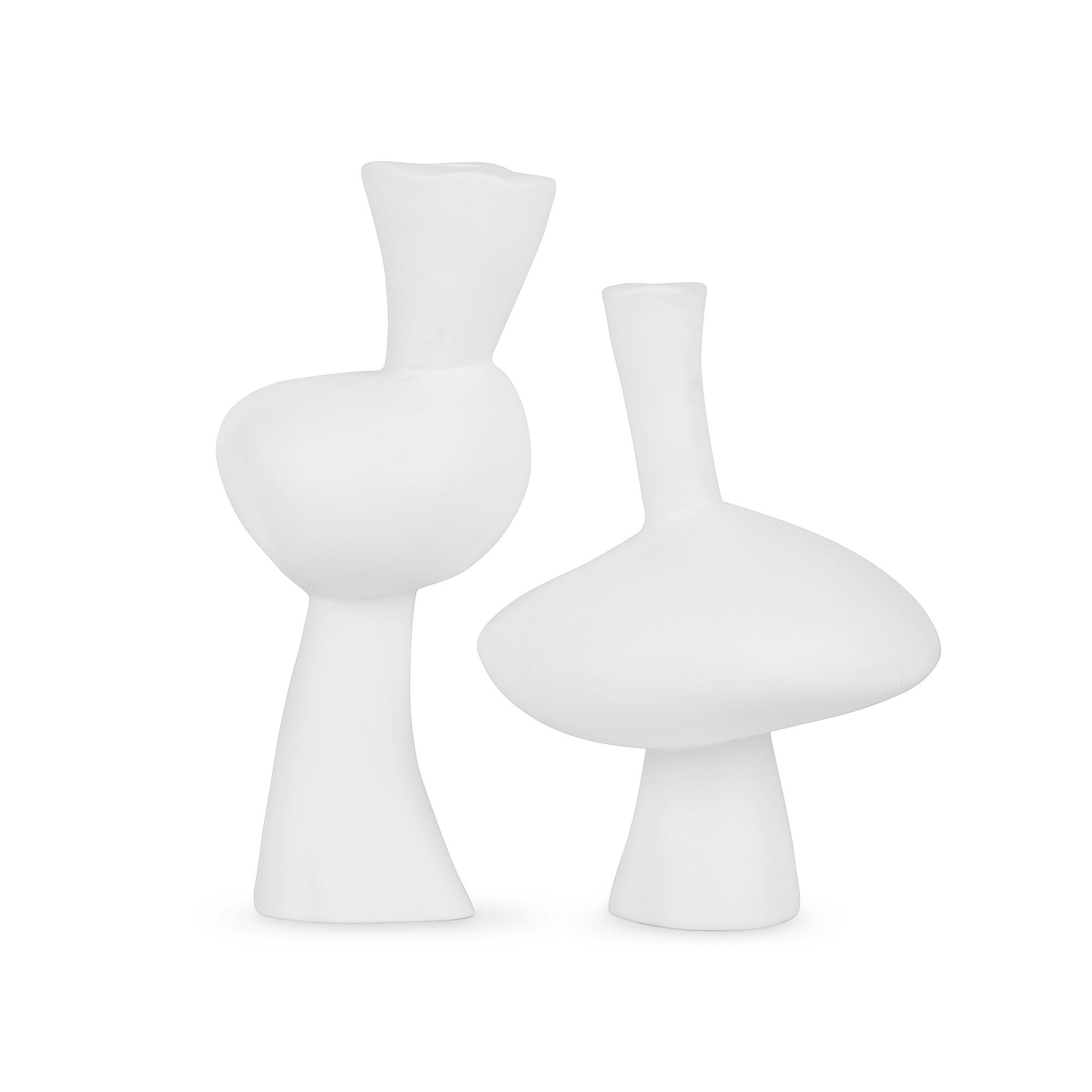 Mercury and Venus Candlesticks White Matte