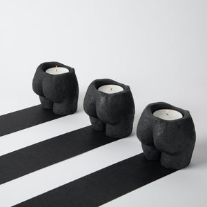 Rock Bottom Tea-light Holder Set Black Grain Texture