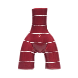 Single L'Egg Cup Maroon/White Striped