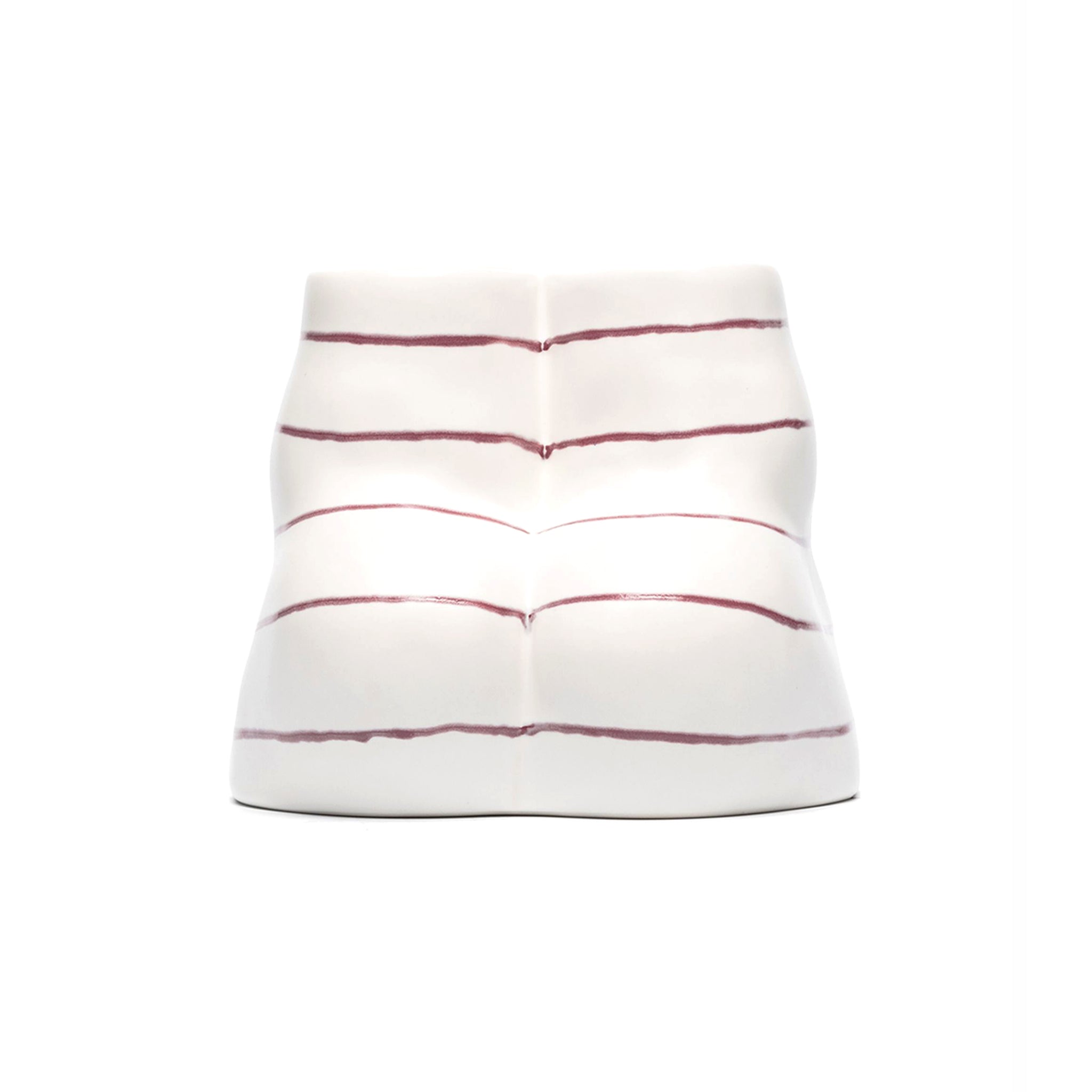 Double L'Egg Tea-light Holder White/Maroon Striped