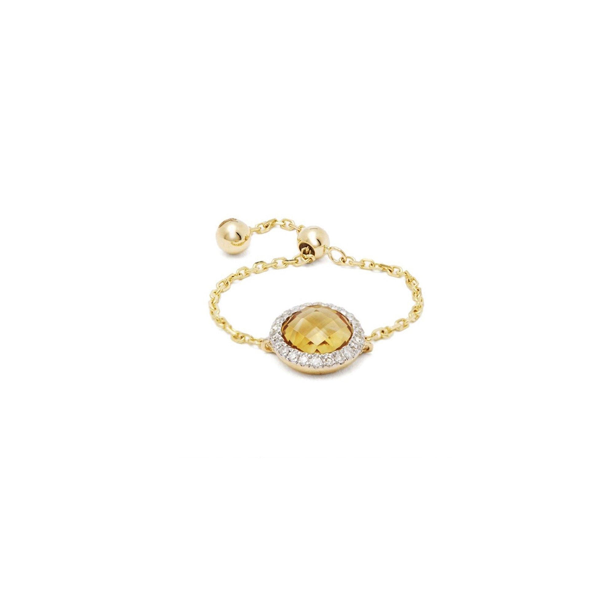 Circle Citrine Chain Ring
