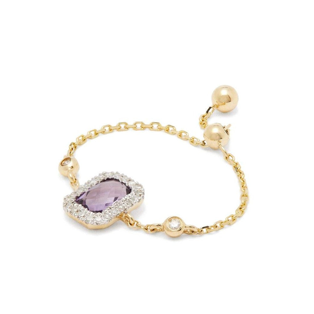 Square Amethyst Chain Ring