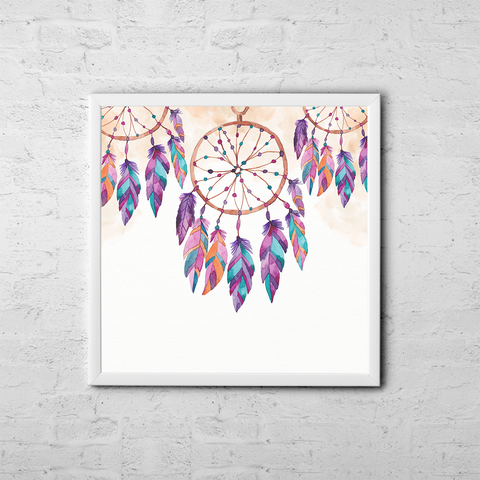 Boho Dreamcatcher - Boho Chic Ethnic Nursery Art Poster Print