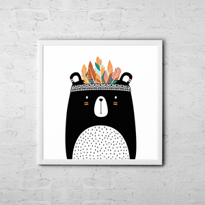 Cute Tribal Bear - Boho Chic Ethnic Nursery Art Poster Print