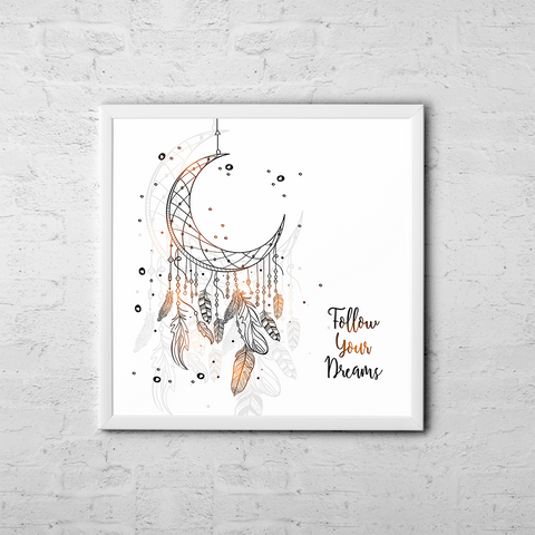 Follow Your Dreamcatcher - Boho Chic Ethnic Nursery Art Poster Print