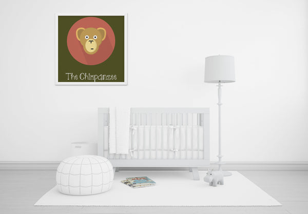 The Chimpanzee Cute Portrait - Baby Room Nursery Art Poster Print