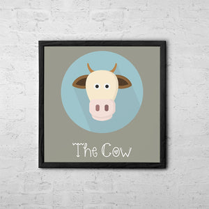 The Cow Cute Portrait - Baby Room Nursery Art Poster Print