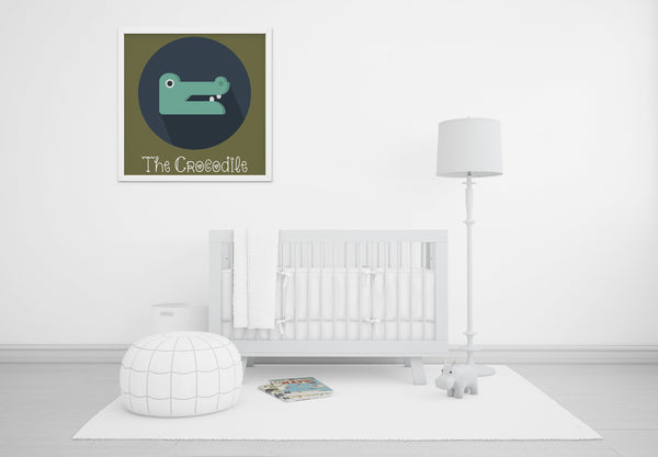 The Crocodile Cute Portrait - Baby Room Nursery Art Poster Print
