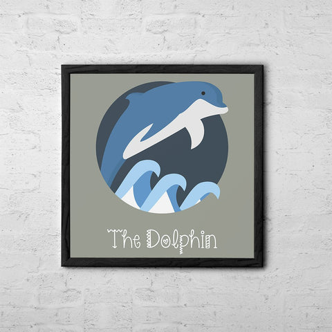 The Dolphin Cute Portrait - Baby Room Nursery Art Poster Print