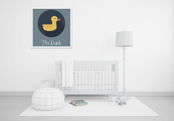 The Duck Cute Portrait - Baby Room Nursery Art Poster Print