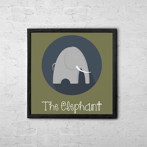 The Elephant Cute Portrait - Baby Room Nursery Art Poster Print
